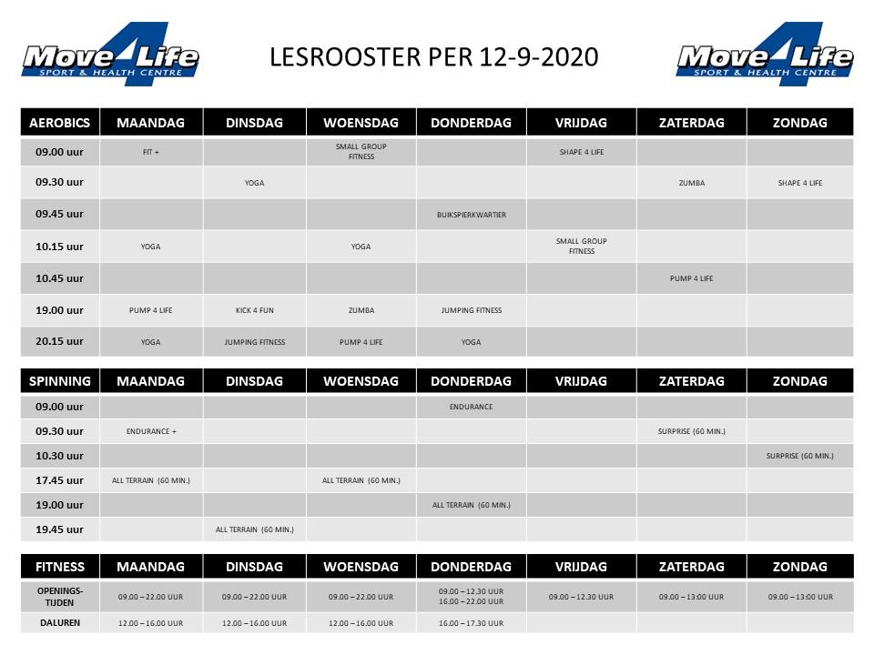 Lesrooster per 12-9-2020
